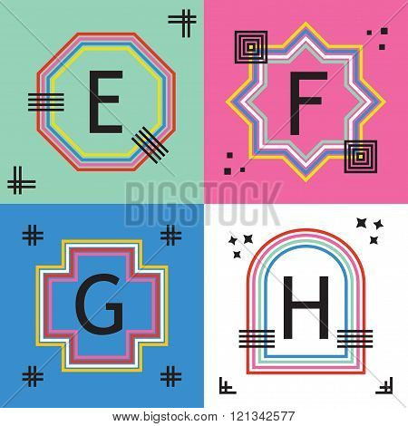 Colorful line capital letters E, F, G, and H emblem icons set