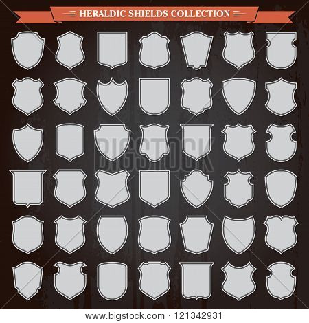 Heraldic Shields Silhouettes Set