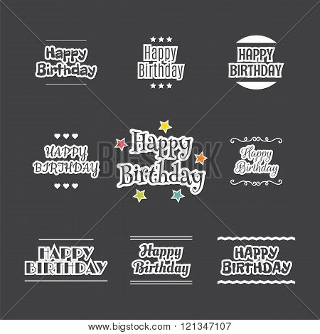 Happy Birthday Set. Label Design Collection. Birthday Card