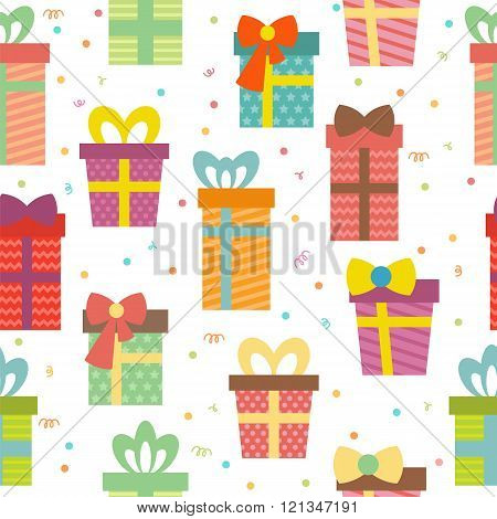 Seamless Pattern With Gift Boxes. Birthday Presents Background