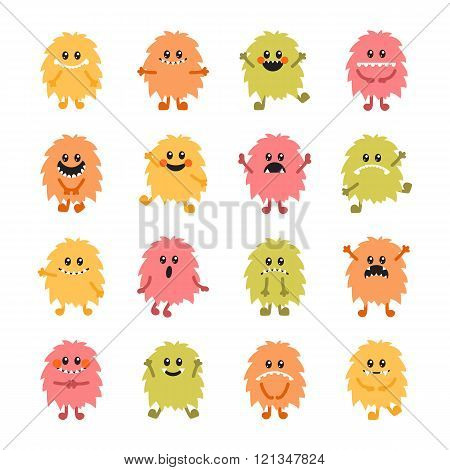 Set Of Cartoon Hand Drawn Smiley Monsters. Collection Of Different Cute Fluffy Monsters Characters