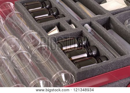 Laboratory equipment in a speciall suitcase