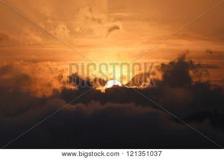Sun Appears From Dark Cloud