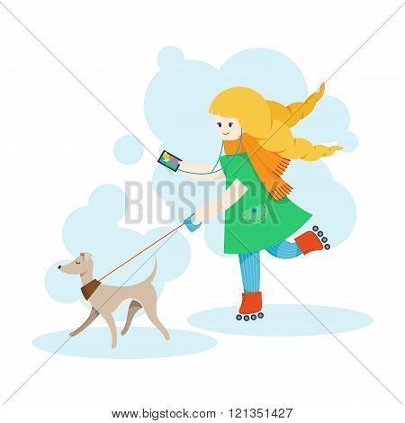 Girl walking an Italian Greyhound and listen music on the mobile phone.