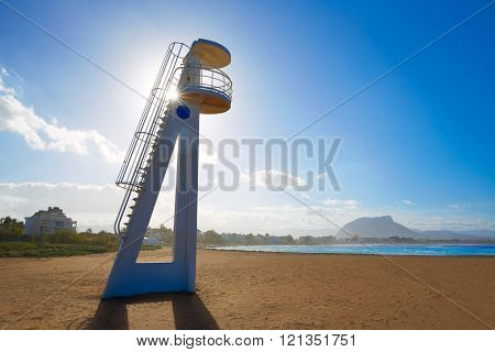 Denia beach Las Marinas baywatch tower in Mediterranean Alicante of Spain