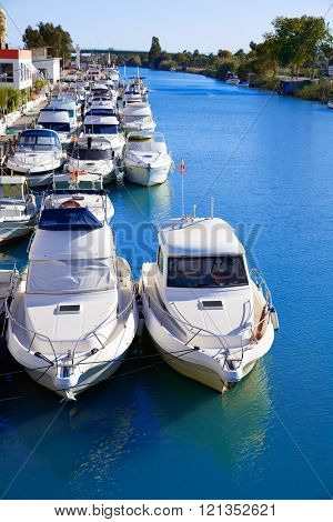 Cullera port marina in Xuquer Jucar river of Valencia Spain