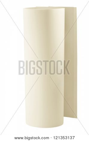 Artistic pale cream color paper for art drawing as one roll of few sheets. Isolated with path on white background.