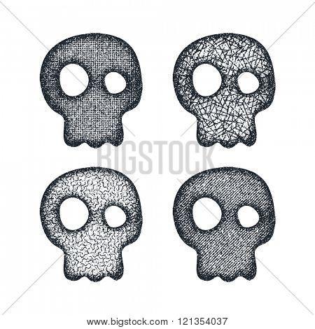 Ornament skull set. Vector illustration