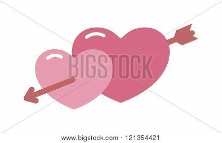 Vector sign two hearts pierced  arrow cartoon illustration.