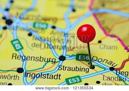 Straubing pinned on a map of Germany