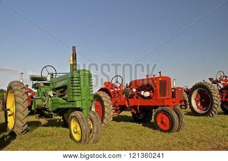 Restored John Deere and Allis Chalmers tractors