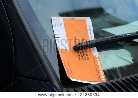 Illegal Parking Violation Citation On Car Windshield in New York