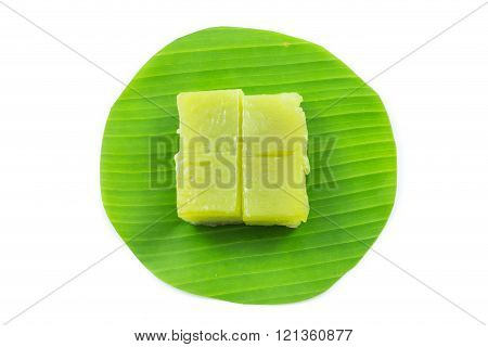 Kind of Thai sweetmeat, Multi Layer Sweet Cake (Kanom Chan) on banana leaf in white background