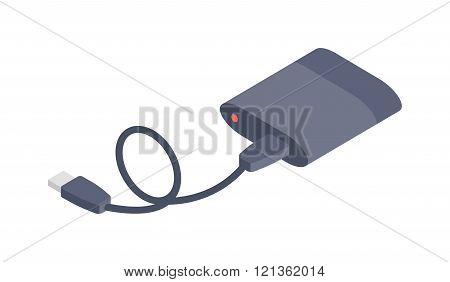 Charger vector isometric flat icon.