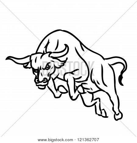 freehand sketch illustration of charging bull doodle hand drawn