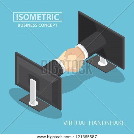 Isometric Businessman Hands Reaching Out From Monitor Screen To Do Handshake