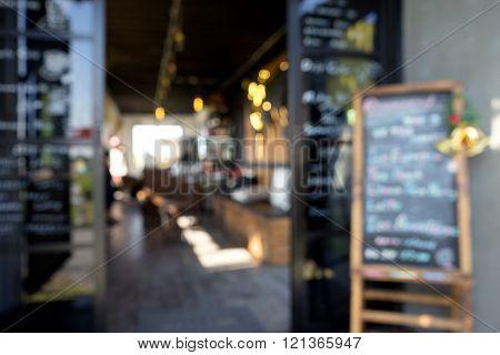 Blur front window coffee shop