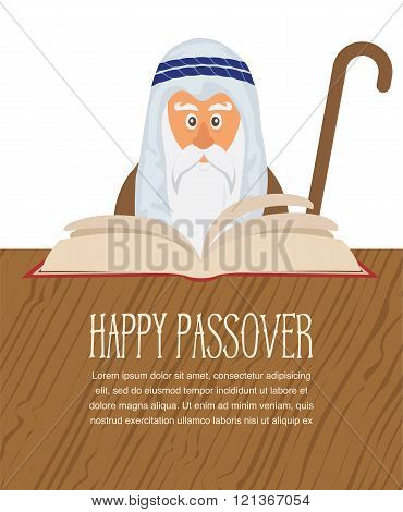 Moses reading Passover Haggadah