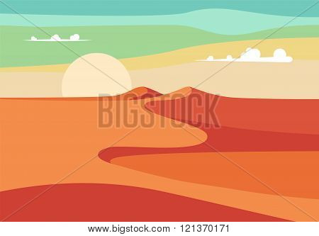 Group of People with Camels Caravan Riding in Realistic Wide Desert Sands in Middle East. Editable V
