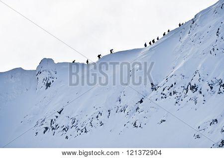 Mountaineers On Fagaras Ridge In Winter