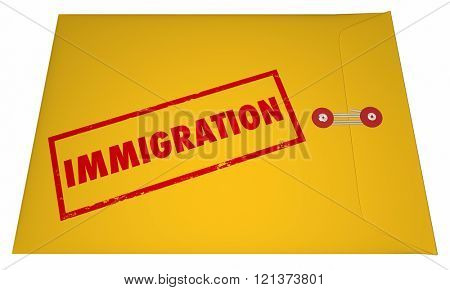 Immigration Files Documents Application Envelope Stamped Word 3D