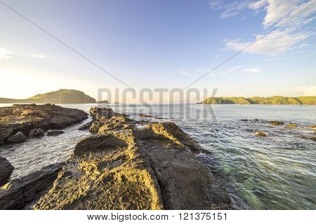 Natural rock formation at Lombok Beach, Indonesia