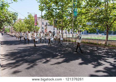 Ceremonial Changing Of The Guard At Palacio De La Moneda