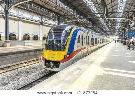 KUALA LUMPUR MALAYSIA - JANUARY 10 2016: Light railway train at KL Sentral station. KL Sentral is a major transport hub of Kuala Lumpur opened in 2001.