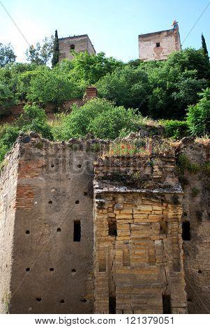 Moorish ruin and Alhambra, Granada.