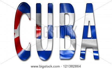 Cuba Word With Flag Texture
