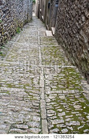 medieval stone street of Erice town Sicily Italy