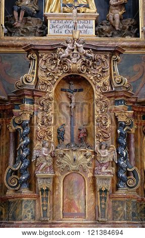 KOTARI, CROATIA - SEPTEMBER 16: Tabernacle on the main altar in the church of Saint Leonard of Noblac in Kotari, Croatia on September 16, 2015.