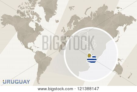 Zoom On Uruguay Map And Flag. World Map.