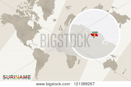 Zoom On Suriname Map And Flag. World Map.