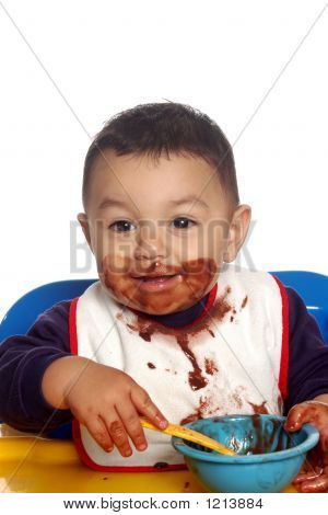 Baby Boy And Chocolate Pudding