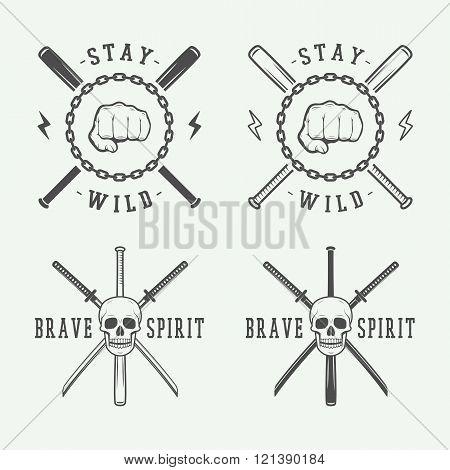 Vintage fighting or martial arts logo emblem badge label or mark. Vector Illustration