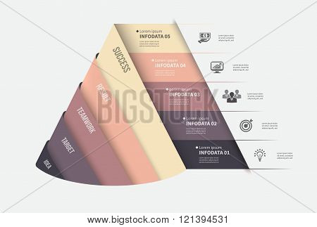 Vector infographic template. Design business concept for presentation, graph and diagram. 5 options,