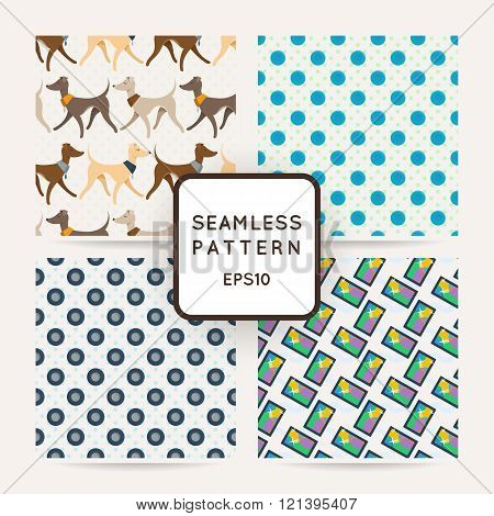 Set of four colorful seamless pattern.
