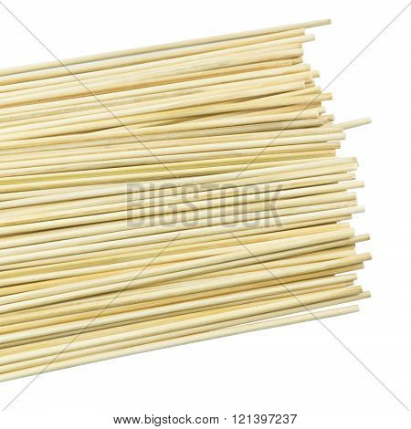 Kitchen Utensils, Pile of Bamboo Sticks or Wooden Skewers Used to Hold Pieces of Food Together.