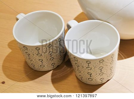 Beverage and Drink Closeup of Two Coffee Cups or Tea Cups Used for Drinking Coffee and Tea.