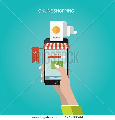 Modern Vector Illustration Of Online Store, Online Shopping, Concept Business Idea