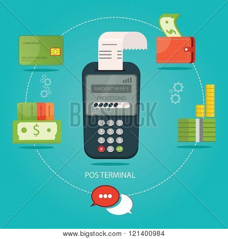 Vector Illustration Of Pos-payment, Payment Technology