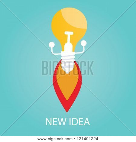 Vector Illustration Of New Idea, Start Up, Bulb