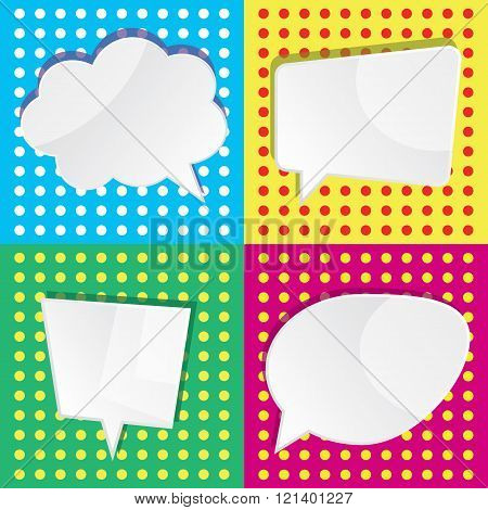 Vector Illustration Of Of Empty White Speech Dialog Bubbles On Colorful Background In Pop Art Style