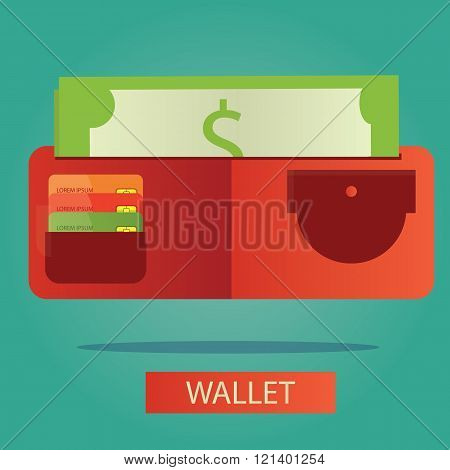 Vector Illustration Of Wallet With Card And Cash