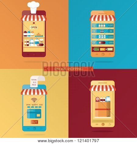 Vector Set Of Online Shopping, Online Food Delivery