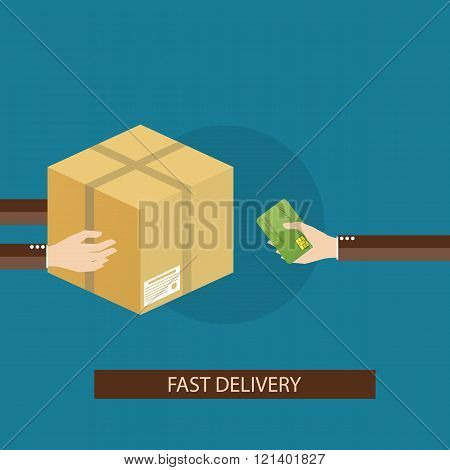 Modern vector illustration of delivery service on blue