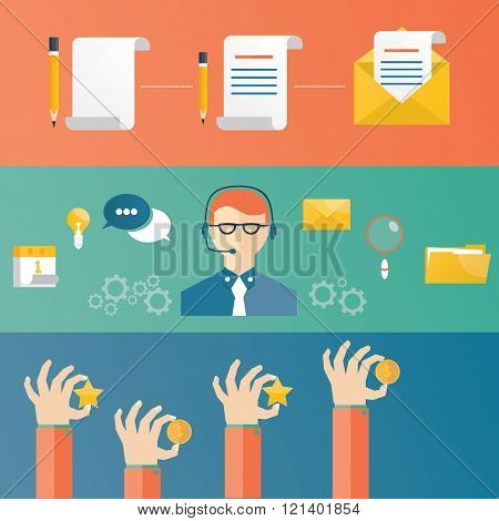 Vector Illustration Of Customer Service, Technical Support Concept