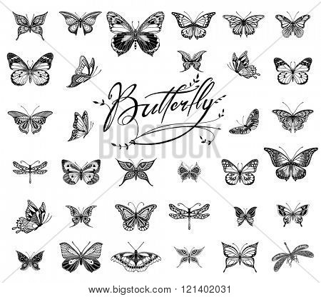 Collection of Illustrations of tattoo style butterflies