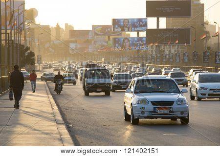Cairo Traffic At Dusk
